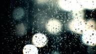Raindrops on window at night video