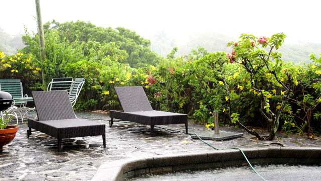 Raining on sunlounges and pool in mauritius video
