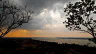 Rainstorm moving over the Mekong River. Time Lapse video