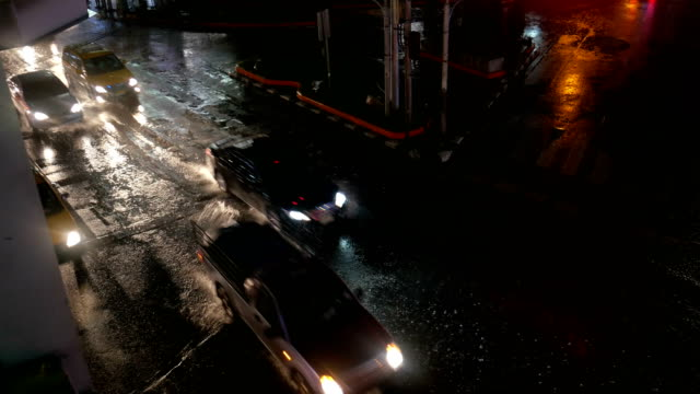Rainy and Traffic in Economic Zone of Bangkok at Night video