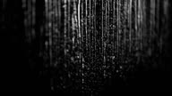 Rainy black and white background: raindrops dripping down the window video