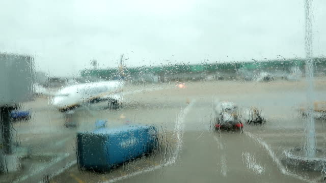 Rainy day on airport video