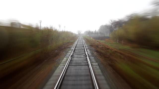 Rainy railroad travel video