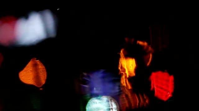 Rainy Window Bokeh Lights video