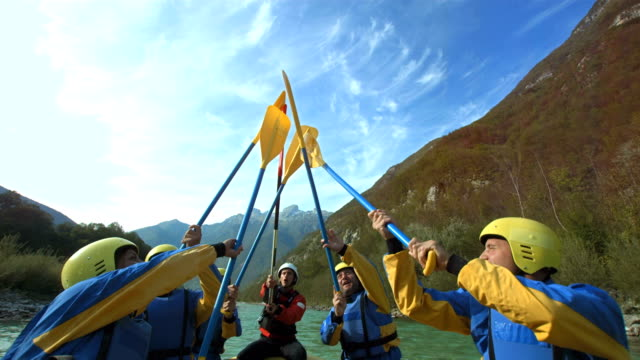 HD SLOW MOTION: Raising Oars Up While Rafting video