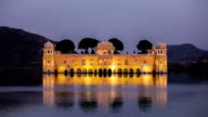 Rajasthan landmark - Jal Mahal (Water Palace) on Man Sagar Lake in the evening in twilight, India video