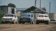 Rally cars will start the race on dusty track video