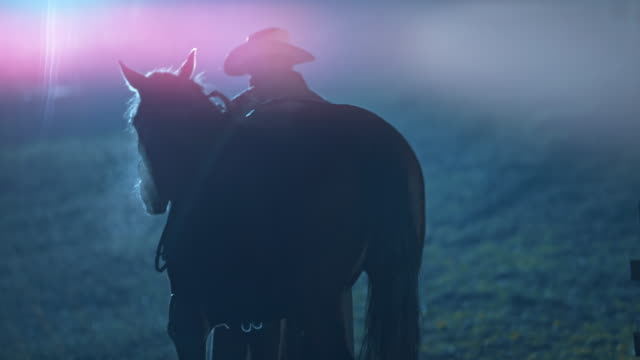 SLO MO Rancher leading his horse to stables at night video