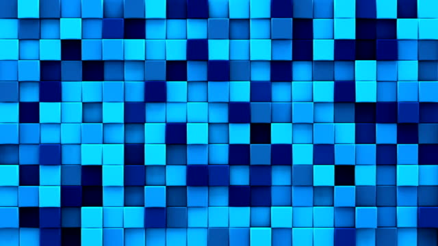 Randomly extruded blue cubes 3D render loopable animation video
