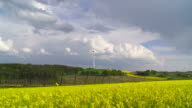 Rape Field in Front of a Wind Turbine (Time Lapse) video