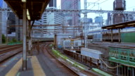 Rapid public transportation through the business districts of Tokyo. video