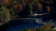 rapids on Merrimack river - Aerial View - New Hampshire,  Merrimack County,  United States video