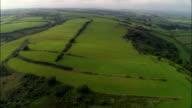 Rare Medieval Strip Farming, Laugharne  - Aerial View - Wales, Carmarthenshire, United Kingdom video