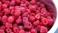 raspberries, close up video