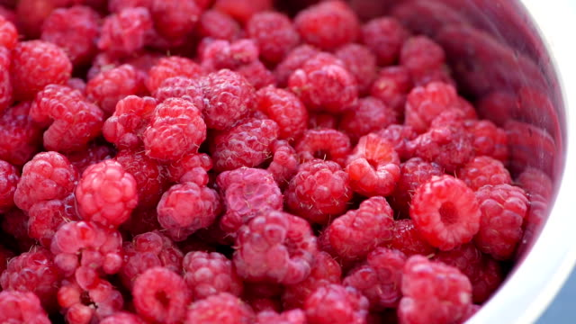 raspberries, close up video