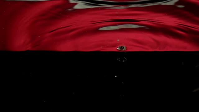 raspberry  splashing into water in slowmotion video