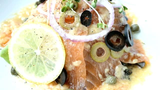 Raw and fresh carpaccio salmon meat video
