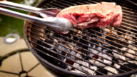 Raw Beef Steaks on a Charcoal Grill video