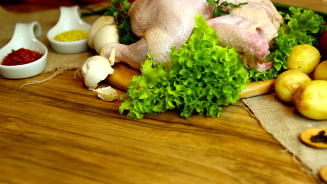 Raw chicken with vegetables video