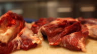 Raw meat in restaurant video
