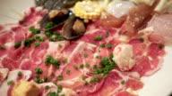 Raw Pork, squid, shellfish, corn, vegetable for Sukiyaki video
