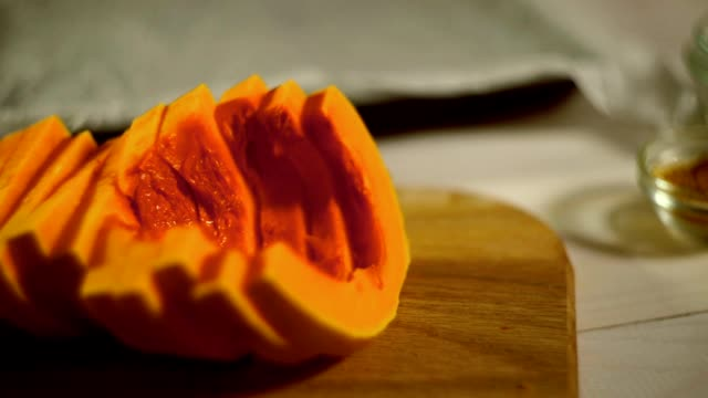 Raw pumpkin pieces. Cut pumpkin spice. Sliced vegetables video