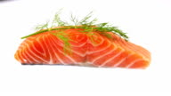Raw Salmon Filet Garnished with Dill video