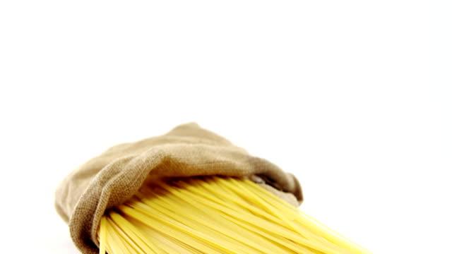 Raw spaghetti in sack video