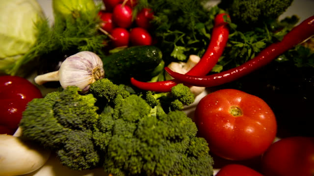 Raw vegetables on table video