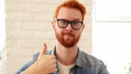 Reaction of Success, Thumbs Up, Appreciating Man with Beard and Red Hairs video