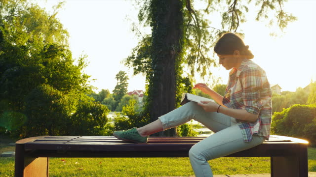 Reading at sunset. video