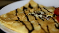 Ready pancake with ham and mushrooms video