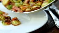 Ready to eat brussels sprouts with bacon and ham video