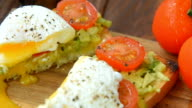 Ready to eat toast with poached egg and veggies video