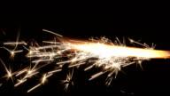Real burning fireworks over black background 1080p video