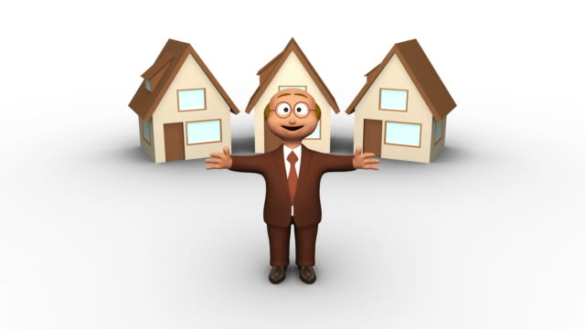 3D Real Estate Agent And Falling Three Houses - Zoom video