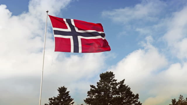 Real Norwegian Flag and the blue sky video