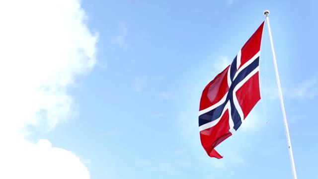 Real Norwegian Flag in Norway video