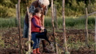 Real People-Senior Woman and Little Girl Planting Tomatoes, Rural Scene video