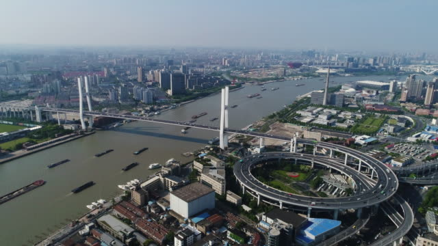 Real time aerial view of shanghai traffic video