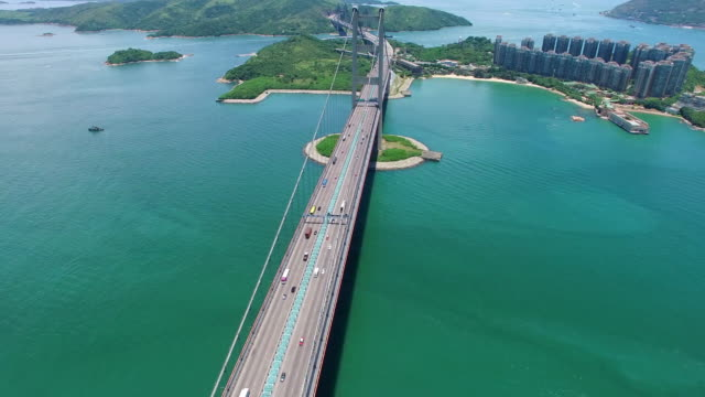 Real Time: Aerial view of Tsing Ma Bridge video