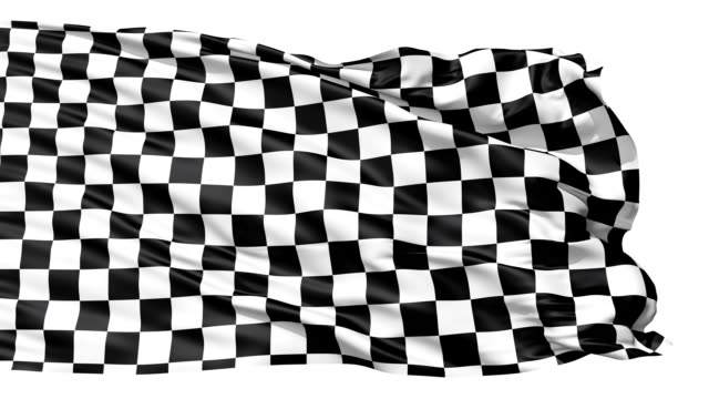 Realistic 3d seamless looping checkered flag waving in the wind. video