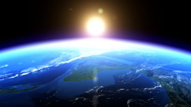 Realistic Earth & sunrise seen from space video