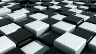 Realistic Movement of cubes. Futuristic background with black and white cubes. Cubes with reflection video