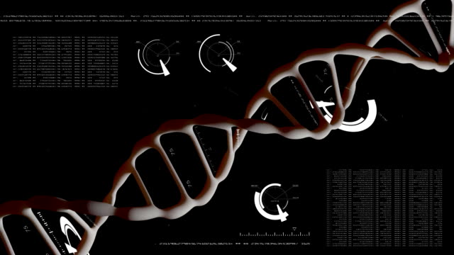 Realistic Rotating DNA with data processing background. Genetic engineering scientific concept. The flying particles. On a black background. video