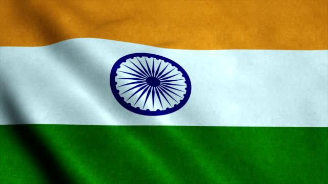Realistic Ultra-HD flag of the India waving in the wind. Seamless loop with highly detailed fabric texture video