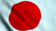 Realistic Ultra-HD flag of the Japan waving in the wind. Seamless loop with highly detailed fabric texture video