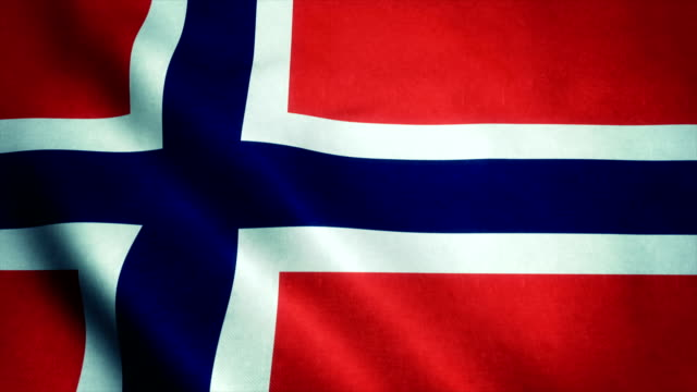 Realistic Ultra-HD flag of the Norway waving in the wind. Seamless loop with highly detailed fabric texture video