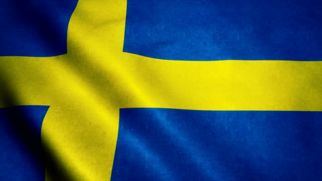Realistic Ultra-HD flag of the Sweden waving in the wind. Seamless loop with highly detailed fabric texture video