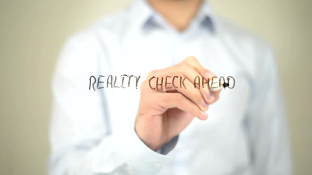 Reality Check Ahead, Man Writing on Transparent Screen video